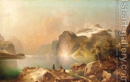 Fjord Landscape by (after) Franz Richard Unterberger - Reproduction Oil Painting