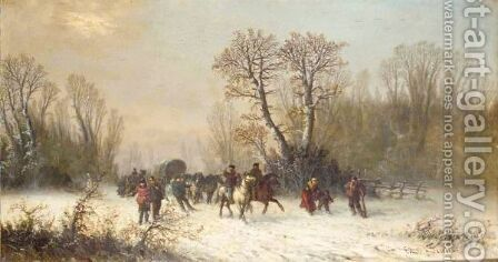 Caravans In The Snow by Edouard Ferey - Reproduction Oil Painting