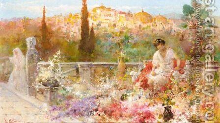 On The Terrace by Augusto Alberici - Reproduction Oil Painting