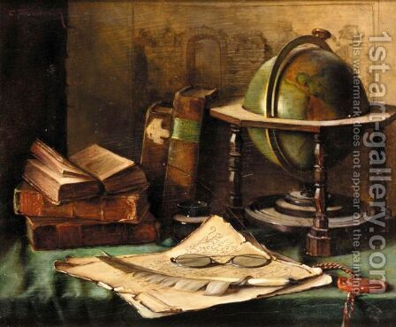 Still Life With Globe And Books On A Desk by Caroline Friedrich - Reproduction Oil Painting