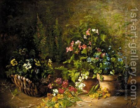 Still Life Of Flowers In Pots And A Basket by Gustave Hall - Reproduction Oil Painting