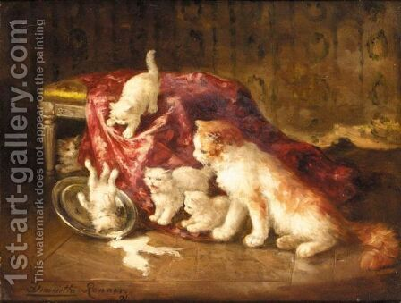 Playful Kittens by (after) Henriette Ronner-Knip - Reproduction Oil Painting