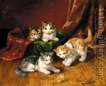 Playful Kittens by Alphonse de Neuville - Reproduction Oil Painting