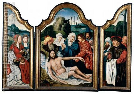 A Triptych The Lamentation Of Christ by Belgian Unknown Masters - Reproduction Oil Painting