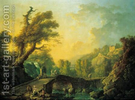 A River Landscape With Herders And Travellers Crossing A Bridge by Carlo Bonavia - Reproduction Oil Painting