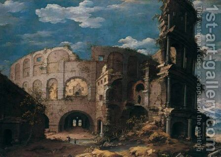 Rome, A Prospect Of The Colosseum by Dirck Verhaert - Reproduction Oil Painting