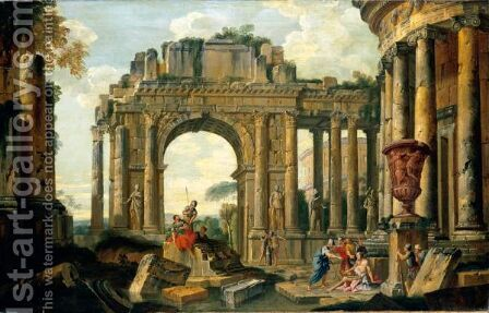 An Architectural Capriccio With Belisarius And Soldiers Among Ruins by (after) Giovanni Paolo Panini - Reproduction Oil Painting