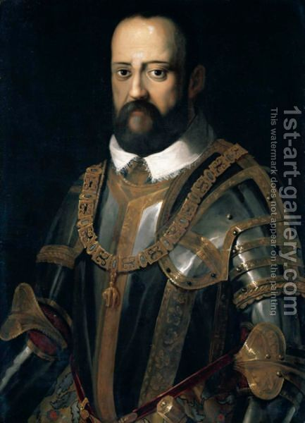 Portrait Of Grand Duke Cosimo I De' Medici (1519-74), Half Length Wearing Armour, Wearing The Insignia Of The Order Of The Golden Fleece by (after) Agnolo Bronzino - Reproduction Oil Painting
