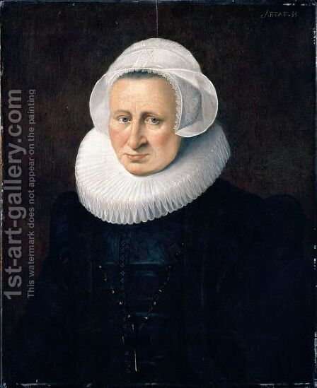 Portrait Of A Lady, Half Length, Wearing Black With A Lace Cap And Ruff by Dutch School - Reproduction Oil Painting