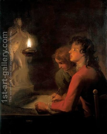 The Drawing Lesson A Candlelight Study Of Two Boys, One Drawing A Statue Of A Boy Playing A Flute by (after) Godfried Schalcken - Reproduction Oil Painting