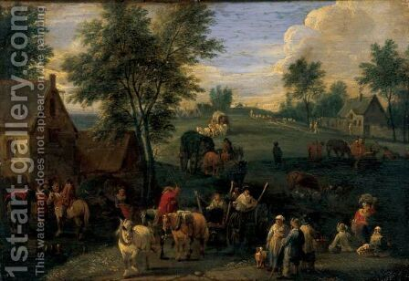 Landscape With Waggoners And Other Figures Gathered On The Outskirts Of A Village by Adriaen Frans Boudewijns - Reproduction Oil Painting