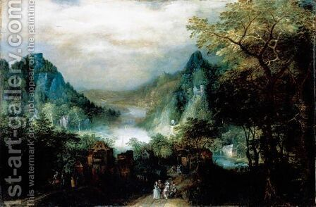 A Mountainous River Landscape With Elegant Figures On The Approaches To A Village by David Vinckboons - Reproduction Oil Painting