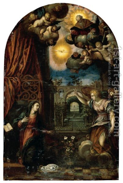 The Annunciation To The Virgin by (after) Hans I Rottenhammer - Reproduction Oil Painting