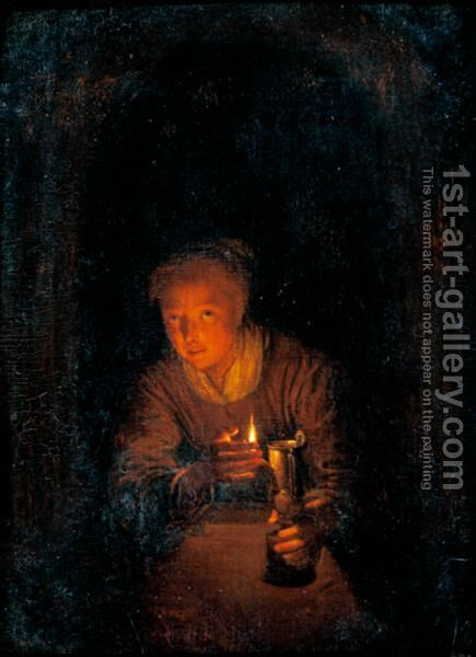 Interior With A Woman Holding A Candle by (after) Gerrit Dou - Reproduction Oil Painting