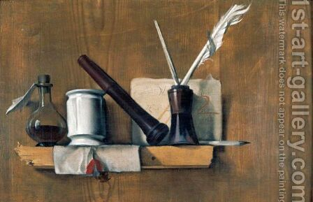 A Trompe L'Oeil With Plumes In An Ink Bottle, A Letter, A Seal Stamp, A Delft Pot And A Bottle, Arranged Upon A Wooden Shelf by Heiman Dullaert - Reproduction Oil Painting