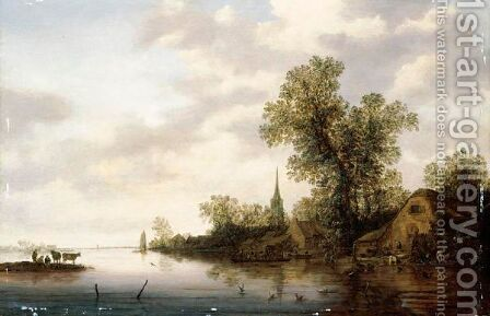 A River Landscape With Figures And A Wagon Being Ferried To A Village by (after)  Jan Van Goyen - Reproduction Oil Painting