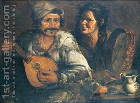 A Man And Woman Playing A Mandolin And Tambourine At A Table by (after) Jan De Herdt - Reproduction Oil Painting