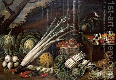 Still Life With Cabbages, Asparagus, A Basket Of Chestnuts, Celery, Mushrooms And Other Vegetables by (after) Giacomo Legi - Reproduction Oil Painting