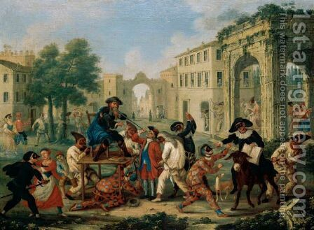 A Carnival Scene With Figures In Masquerade Dress Riding A Donkey In A Street by (after) Marco Marcola - Reproduction Oil Painting