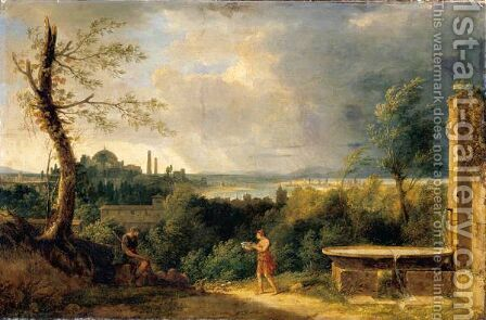Landscape With Belisarius And A View Of Istanbul And The Bosphorus Beyond by (after) Pierre-Henri De Valenciennes - Reproduction Oil Painting