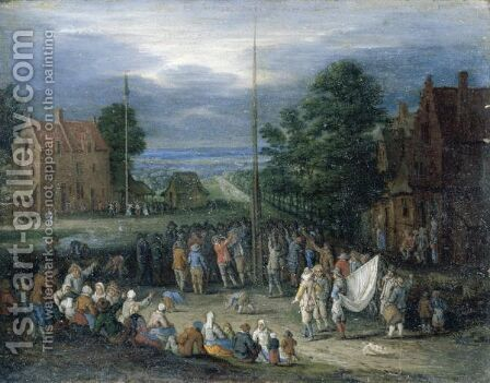 A Village Scene With Figures Shooting The Popingay And Dancing Around A Maypole by (after) Jan The Elder Brueghel - Reproduction Oil Painting