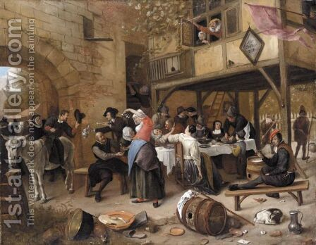 A Feast Of The Chamber Of Rhetoricians Near A Town-Gate by Jan Havicksz. Steen - Reproduction Oil Painting