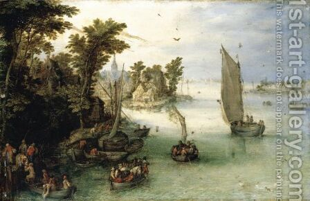 A River Scene With Boats Unloading At A Quay, And A Village Beyond by Jan The Elder Brueghel - Reproduction Oil Painting