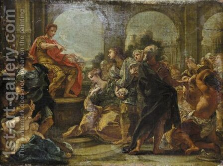 The Continence Of Scipio by Giovanni Battista (Baciccio) Gaulli - Reproduction Oil Painting