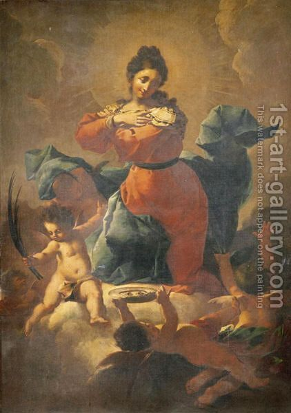Saint Lucy With Putti by (after) Giovanni Battista Piazzetta - Reproduction Oil Painting