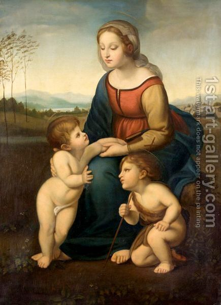 La Belle Jardiniere by (after) Raphael (Raffaello Sanzio of Urbino) - Reproduction Oil Painting