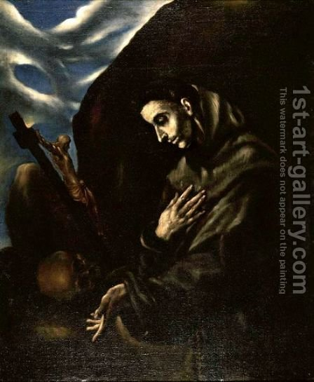 Saint Francis Standing In Meditation by (after) El Greco (Domenikos Theotokopoulos) - Reproduction Oil Painting