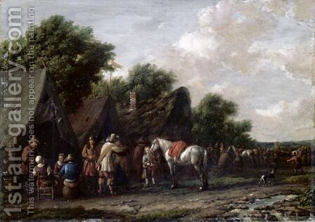 Cavaliers Resting Before An Inn by Barend Gael or Gaal - Reproduction Oil Painting