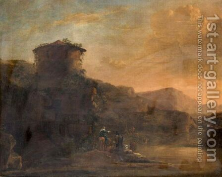 An Italianate Landscape With Travellers And A Cattle Crossing A River At Sunset by (after) Jan Asselijn - Reproduction Oil Painting
