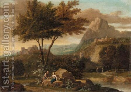 An Italianate River Landscape With A Man And A Woman Conversing In The Foreground. by (after) Aelbert Meyeringh - Reproduction Oil Painting