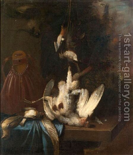 A Still Life With A Partridge, And Song Birds, Together With A Game Bag On A Ledge by Dutch School - Reproduction Oil Painting