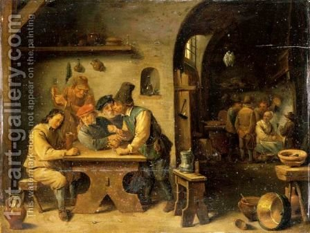 A Tavern Interior With Peasants Drinking Smoking And Merry Making by (after)  David The Younger Teniers - Reproduction Oil Painting