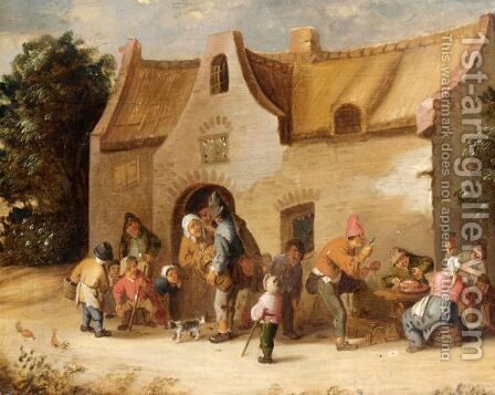 Peasants Eating, Drinking And Conversing In Front Of A Cottage by Cornelis Mahu - Reproduction Oil Painting