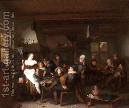 A Tavern Interior With A Merry Company Drinking And Smoking by Hendrik De Valk - Reproduction Oil Painting