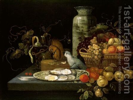 A Banketje Still Life With Fruit, Oysters And A Parrot Arranged Upon A Stone Table Top by (after) Michiel Simons - Reproduction Oil Painting