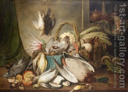 Still Life With Duck, Partridges, Pigeons, Woodcock, Songbirds And Other Various Other Game Birds Together With A Basket And Some Vegetables by (after) Jacob Samuel Beck - Reproduction Oil Painting