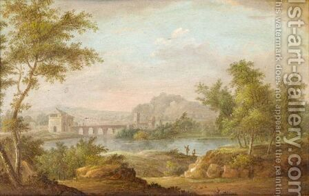 A River Landscape With Fishermen And A Bridge Beyond by (after) Peter Von Bemmel - Reproduction Oil Painting
