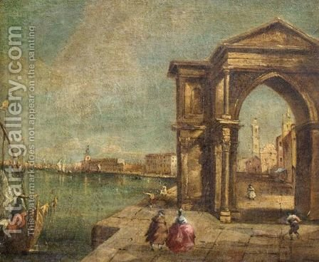 A Venetian Capriccio Scene With A Triumphal Arch by (after) Francesco Guardi - Reproduction Oil Painting