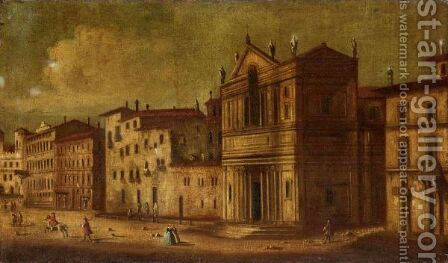 A Capriccio Scene With Figures Before A Palazzo by (after) Francesco Guardi - Reproduction Oil Painting