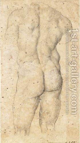 Study Of A Male Torso, Seen From Behind by (after) Daniele Da Volterra - Reproduction Oil Painting