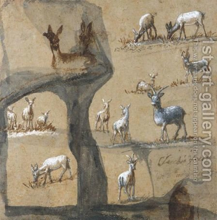 A Sheet Of Studies Of Deer by Claude Lorrain (Gellee) - Reproduction Oil Painting
