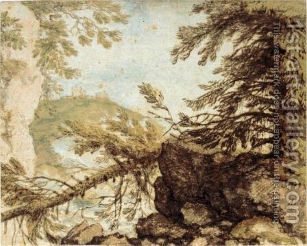 Wooded Mountain Landscape With A Fallen Pine And A Distant Castle by Allaert van Everdingen - Reproduction Oil Painting