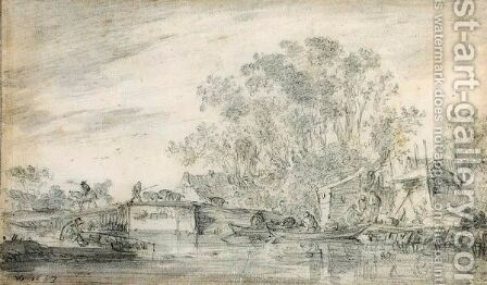 River Landscape With Fishermen In Their Boats To The Right, And A Herdsman With His Flocks On A Low Bridge by Jan van Goyen - Reproduction Oil Painting