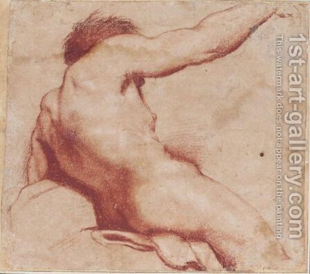 Seated Male Nude With Raised Arm, Seen From Behind by Annibale Carracci - Reproduction Oil Painting