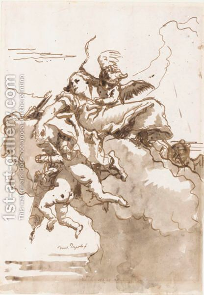 A Female Figure In The Clouds, Surrounded By Putti With A Bow And Quivers Of Arrows by Giovanni Domenico Tiepolo - Reproduction Oil Painting