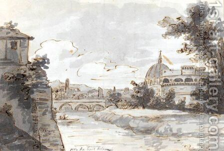 View Of Along The Tiber With The Castel Sant'angelo And St. Peter's To The Right by Jacques Louis David - Reproduction Oil Painting
